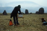 Archaeologist John Barnatt, working with the DPT, conducting geophysical survey at Castlerigg stone circle, Cumbria